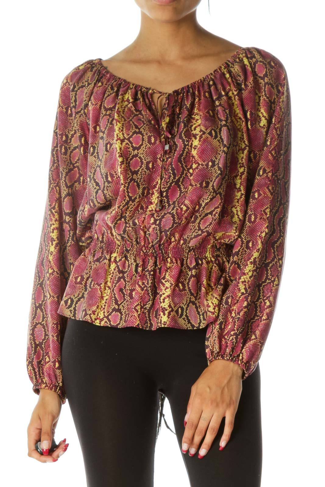 Pink Yellow Snake Print 100% Silk Cold Shoulder Blouse