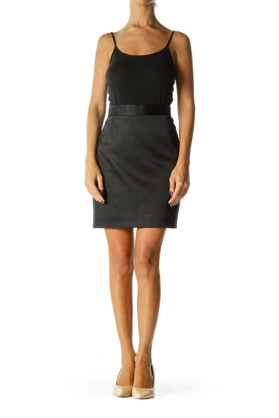 Black A-Line Zippered Mini Skirt