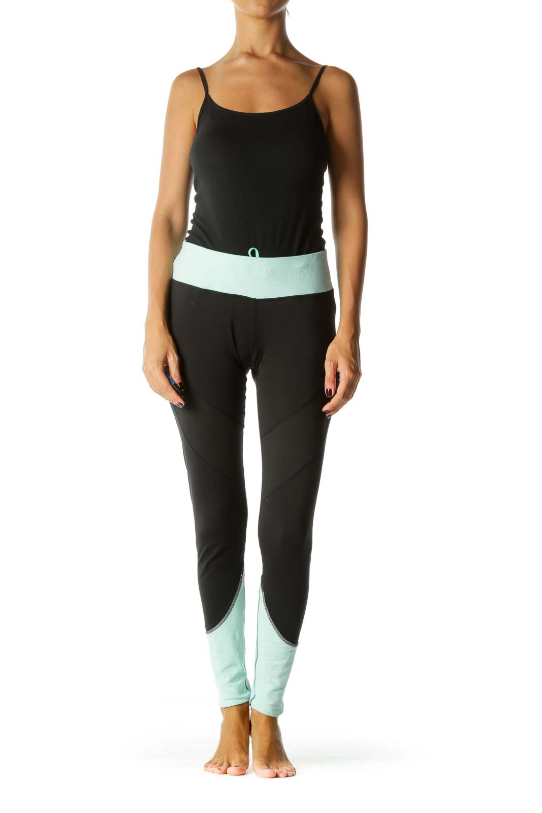 Black and Teal Color Blocked Leggings