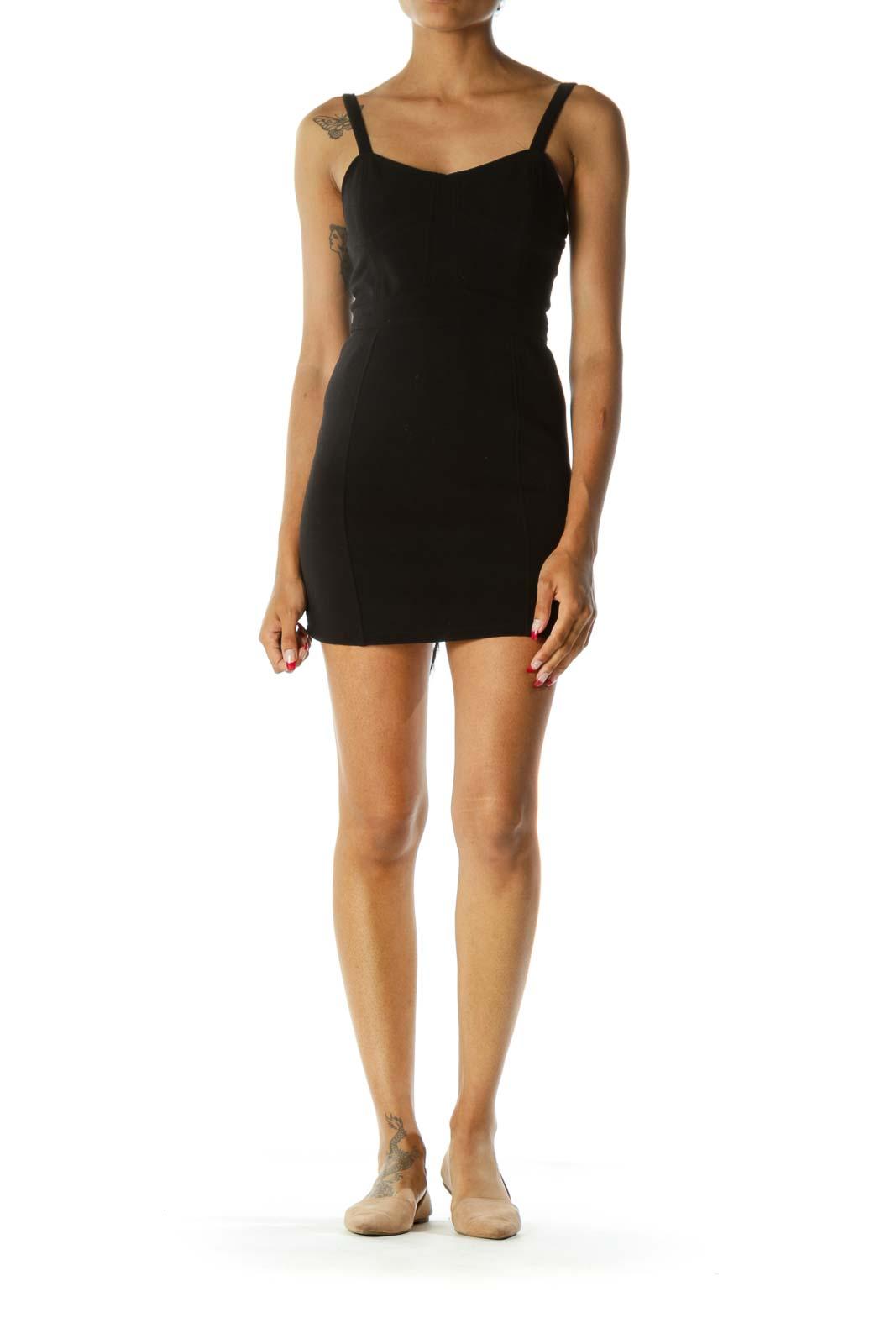 Black Sweetheart Neckline Zippered Cut Out Cocktail Dress