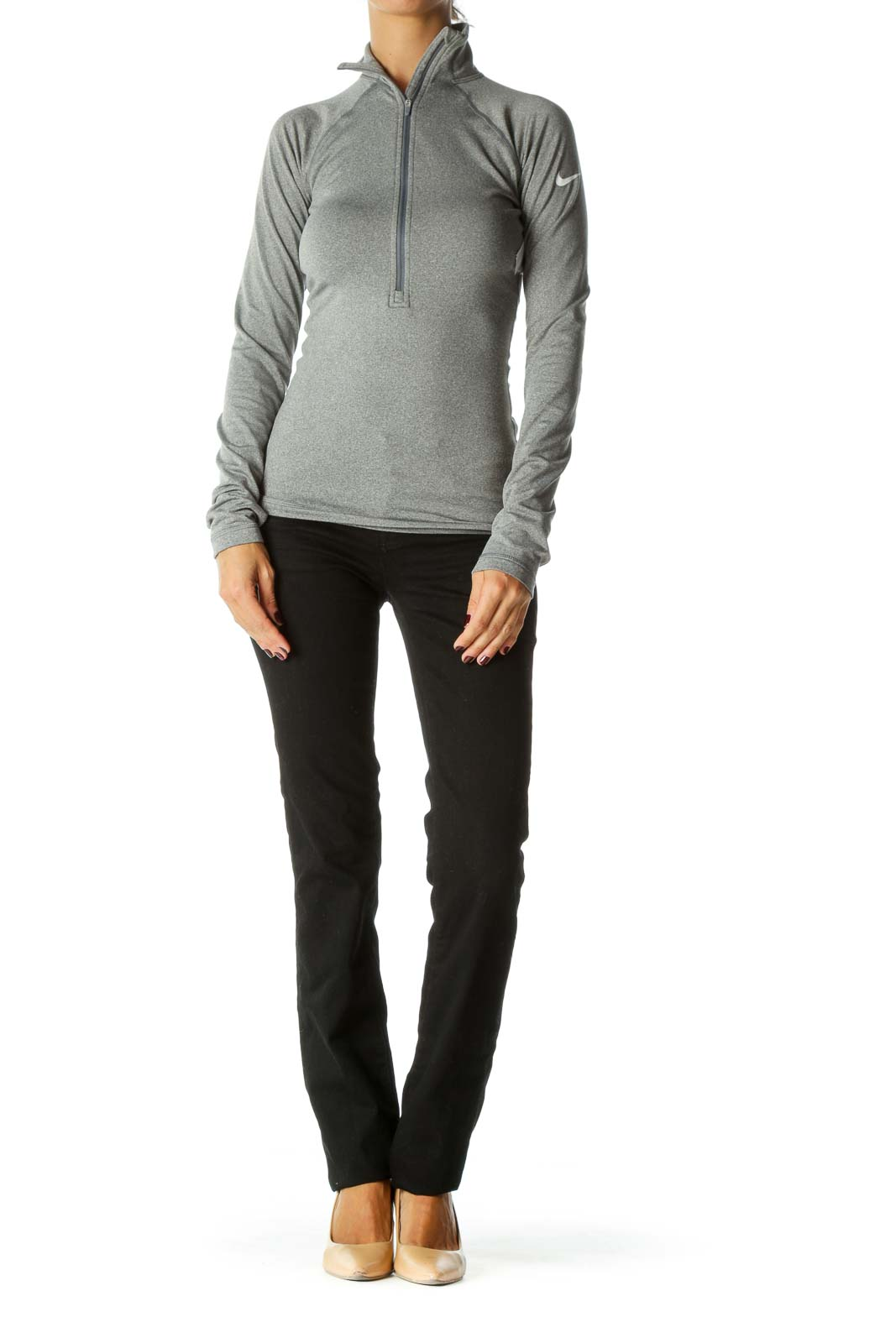 Gray Long Sleeve Zippered Sports Jacket