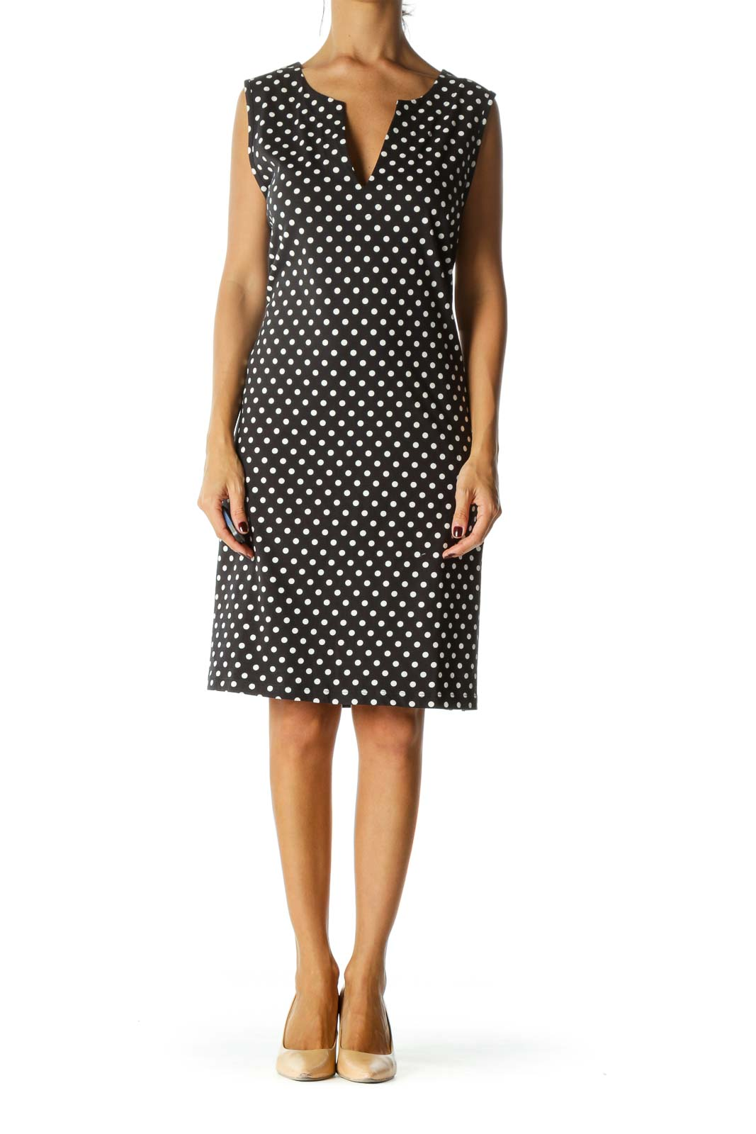 Black White Cotton Polka Dot Slip Dress