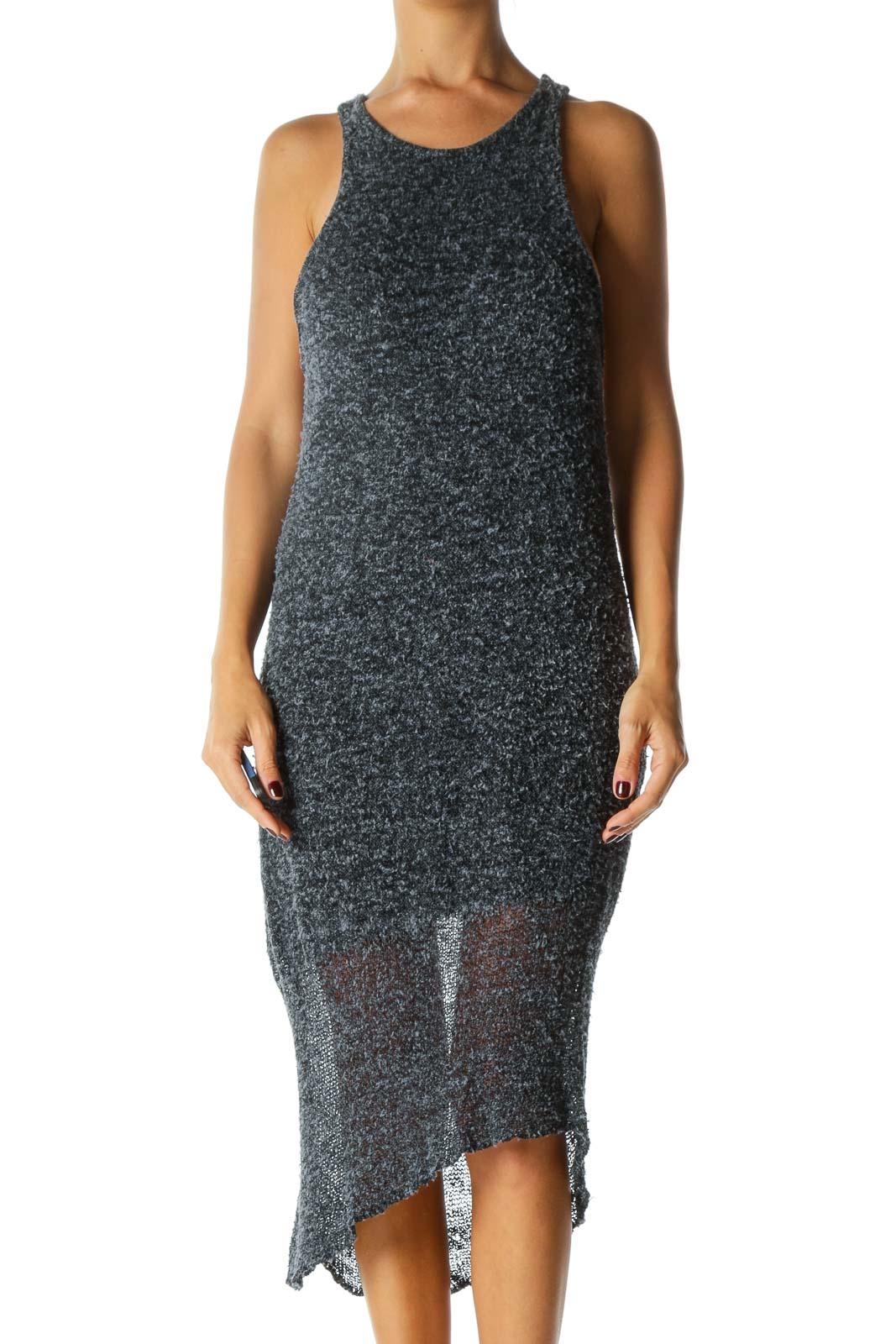Black Blue Mottled Texture Round Neck Knitted Lining Cotton Silk Blend Dress