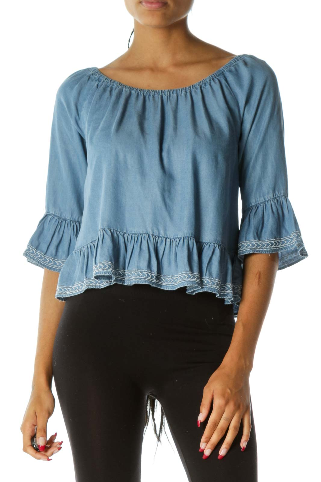 Blue Light Wash 3/4 Sleeves Cold Shoulder Ruffled Flared Top