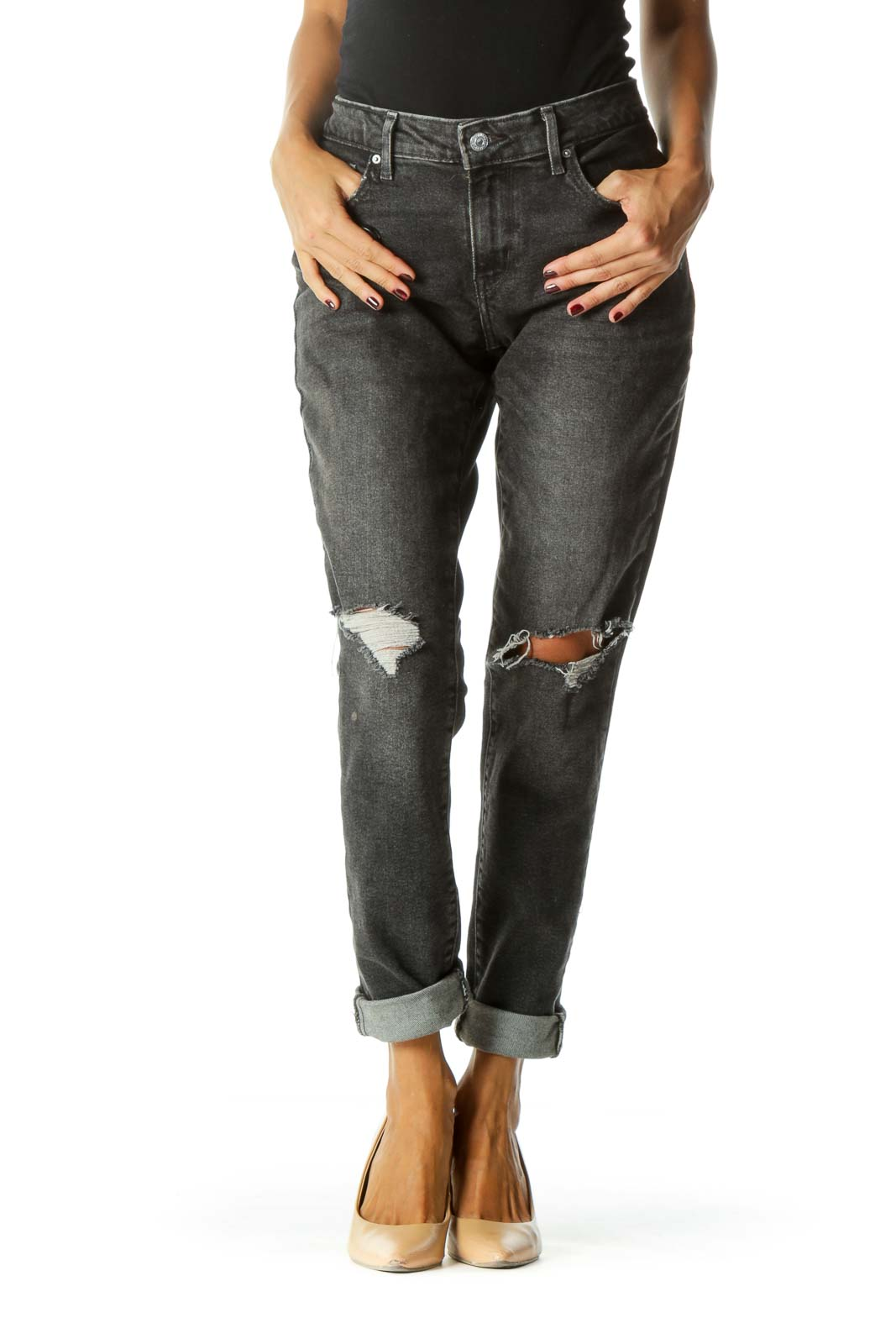 Black Distressed Mid-Rise Skinny Jeans