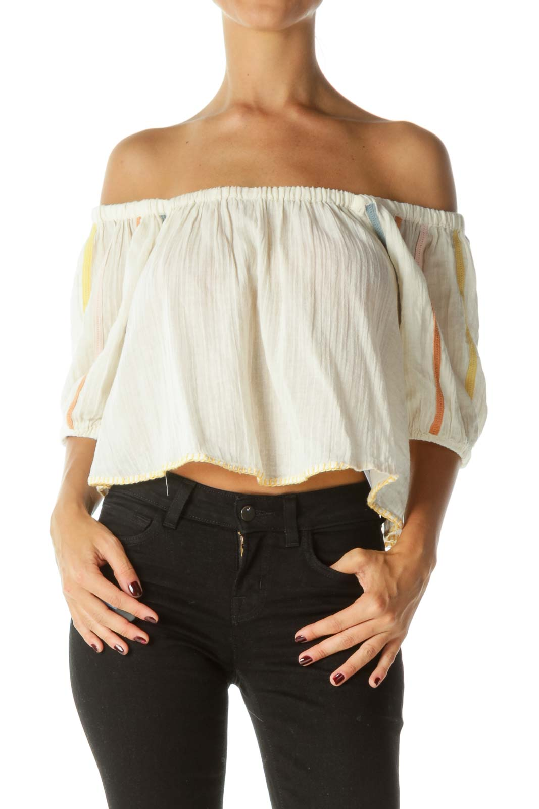 Cream Multicolored-Knit-Appliques and Trim Embroidery 100% Cotton Cold Shoulder Top
