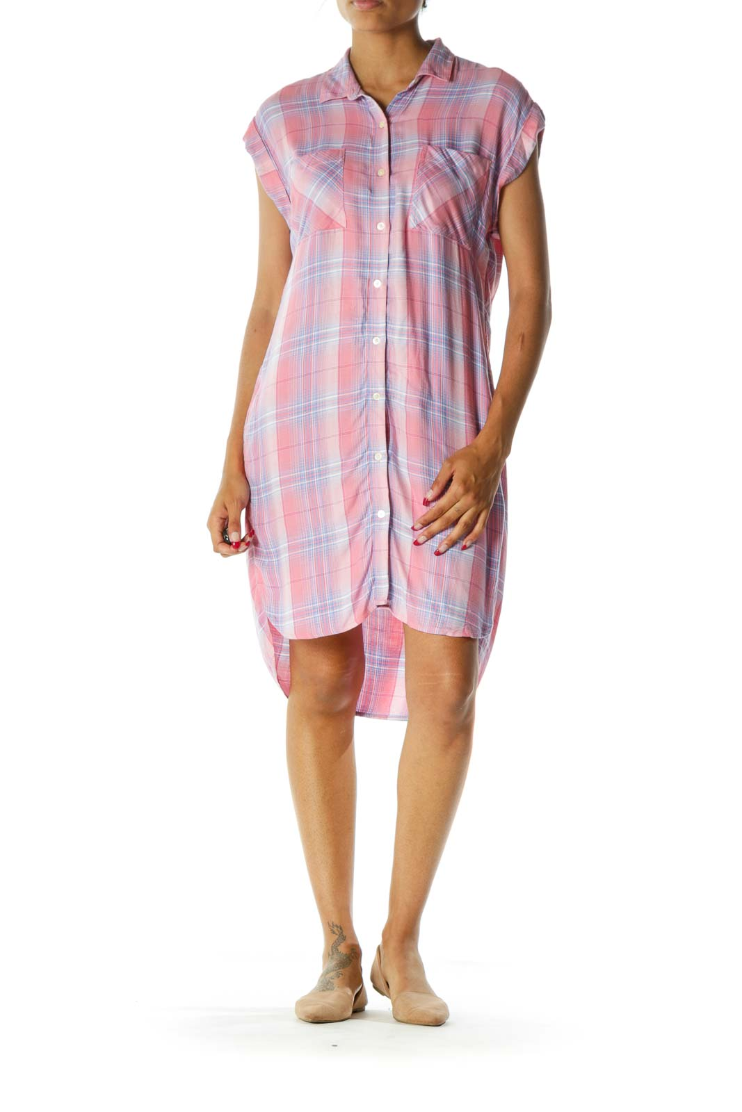 Pink Blue White Plaid Buttoned Hip Pockets Down Short Sleeve Soft Dress