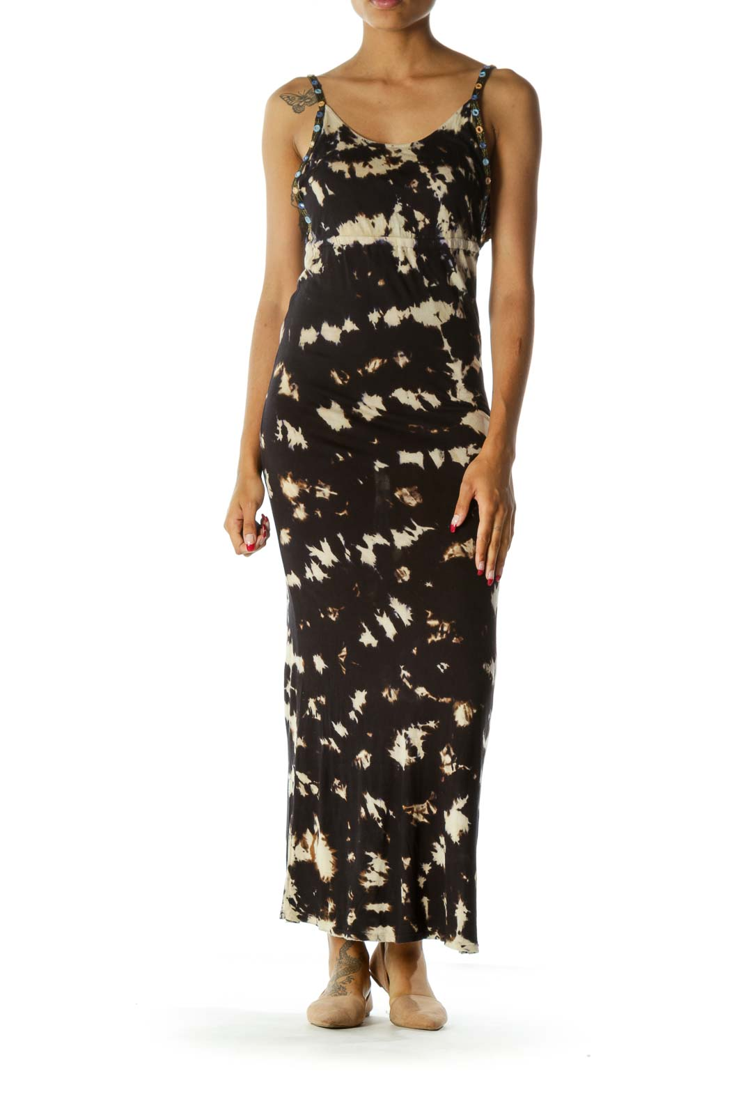 Black Brown Blue Tie Dye Back V-Neck Mirror Appliques Maxi Dress