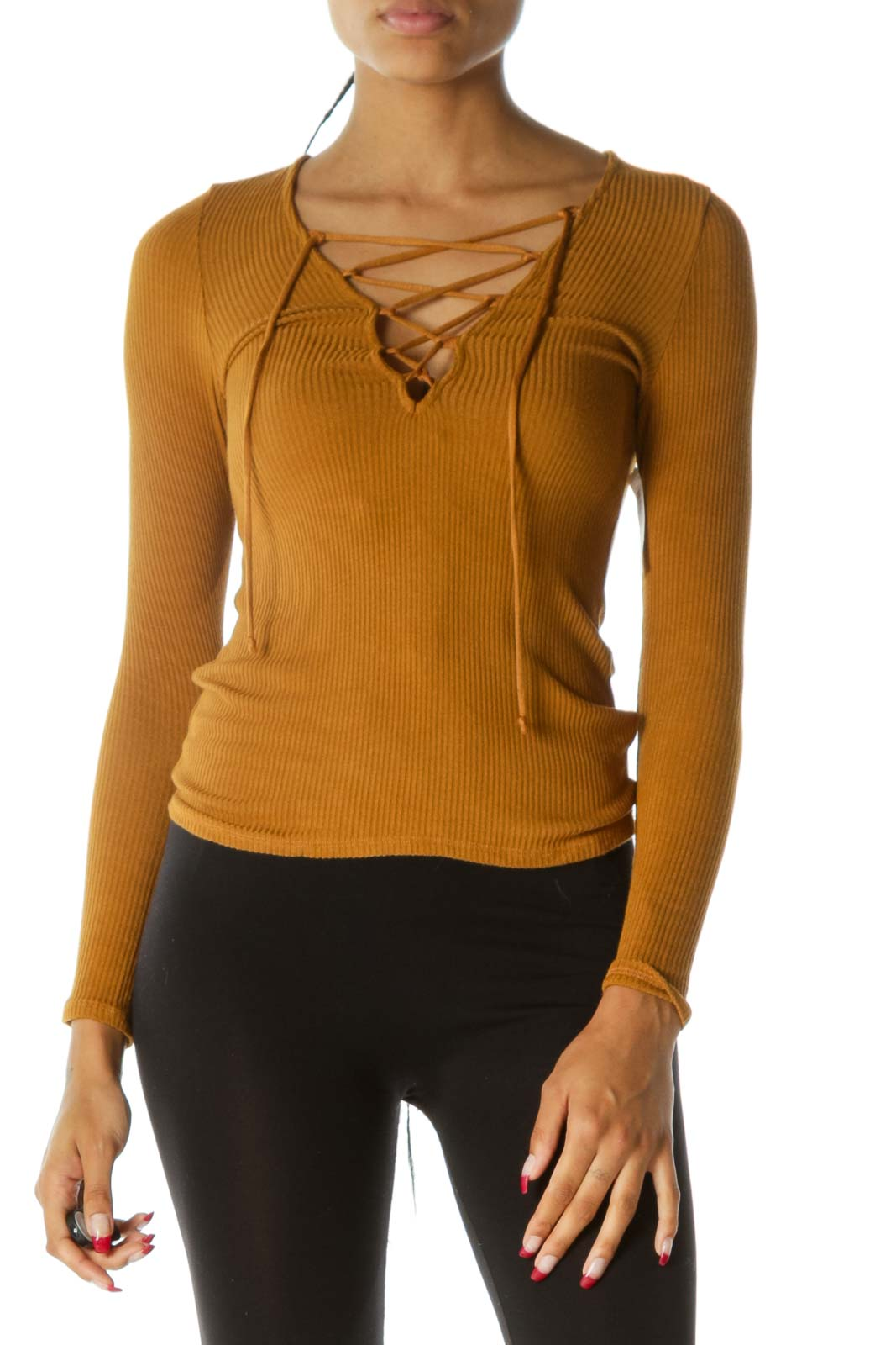 Mustard Yellow Crisscross Ribbed Texture Long Sleeve Stretch Top