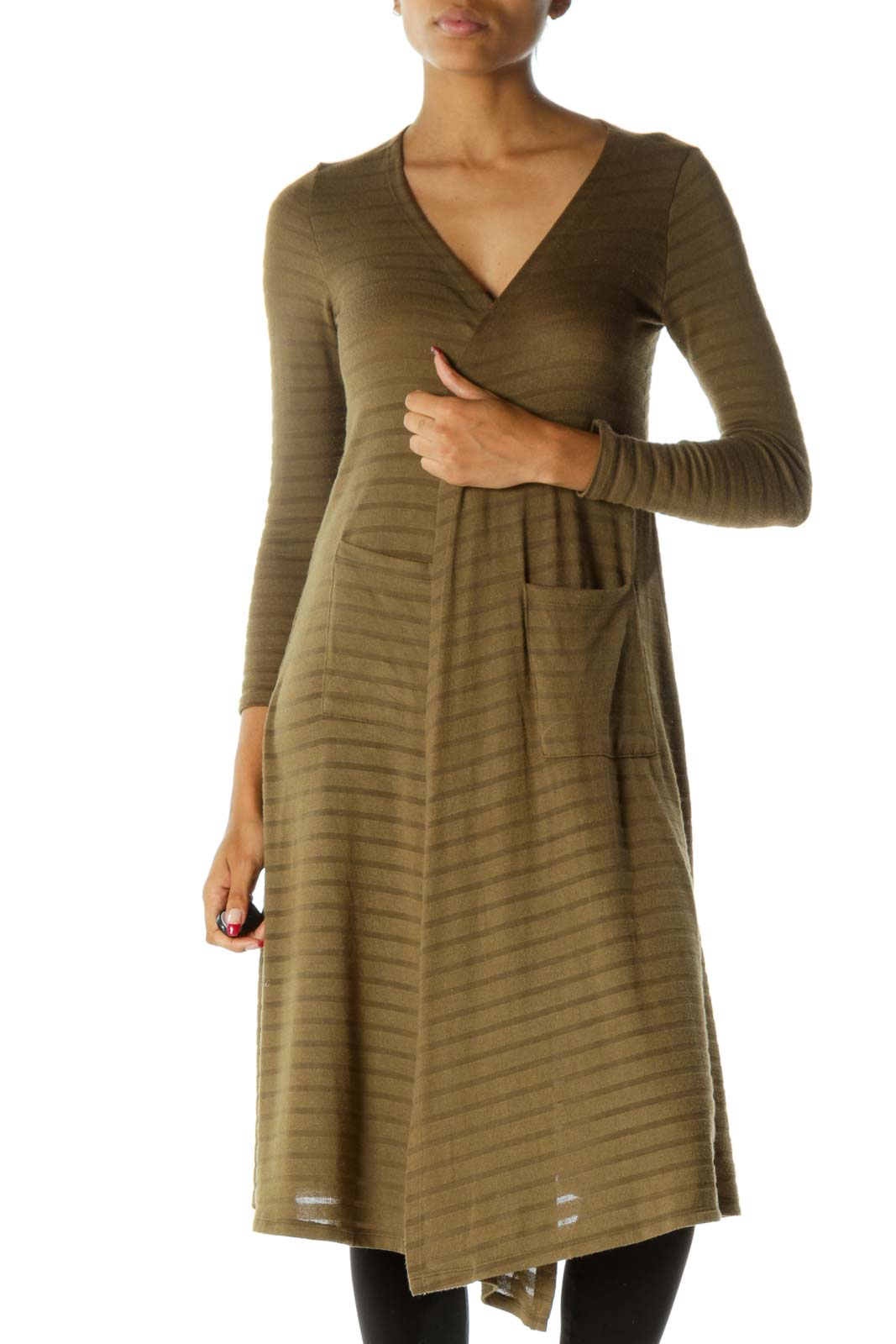 Olive Green Long Sleeve Stretch Stripe Pattern Pocketed Long Cardigan