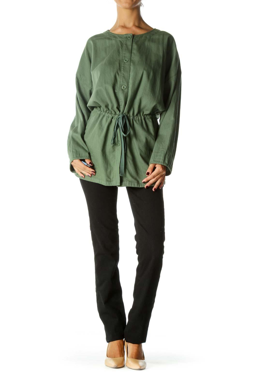 Green Light Weight Round Neck Jacket