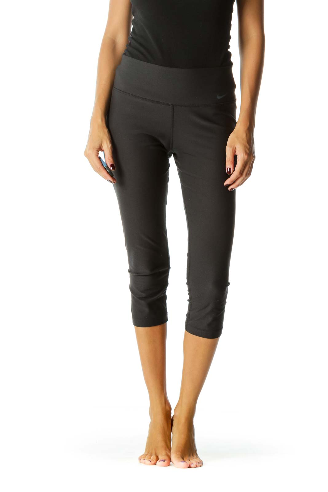 Black Mid-Rise Cropped Leggings