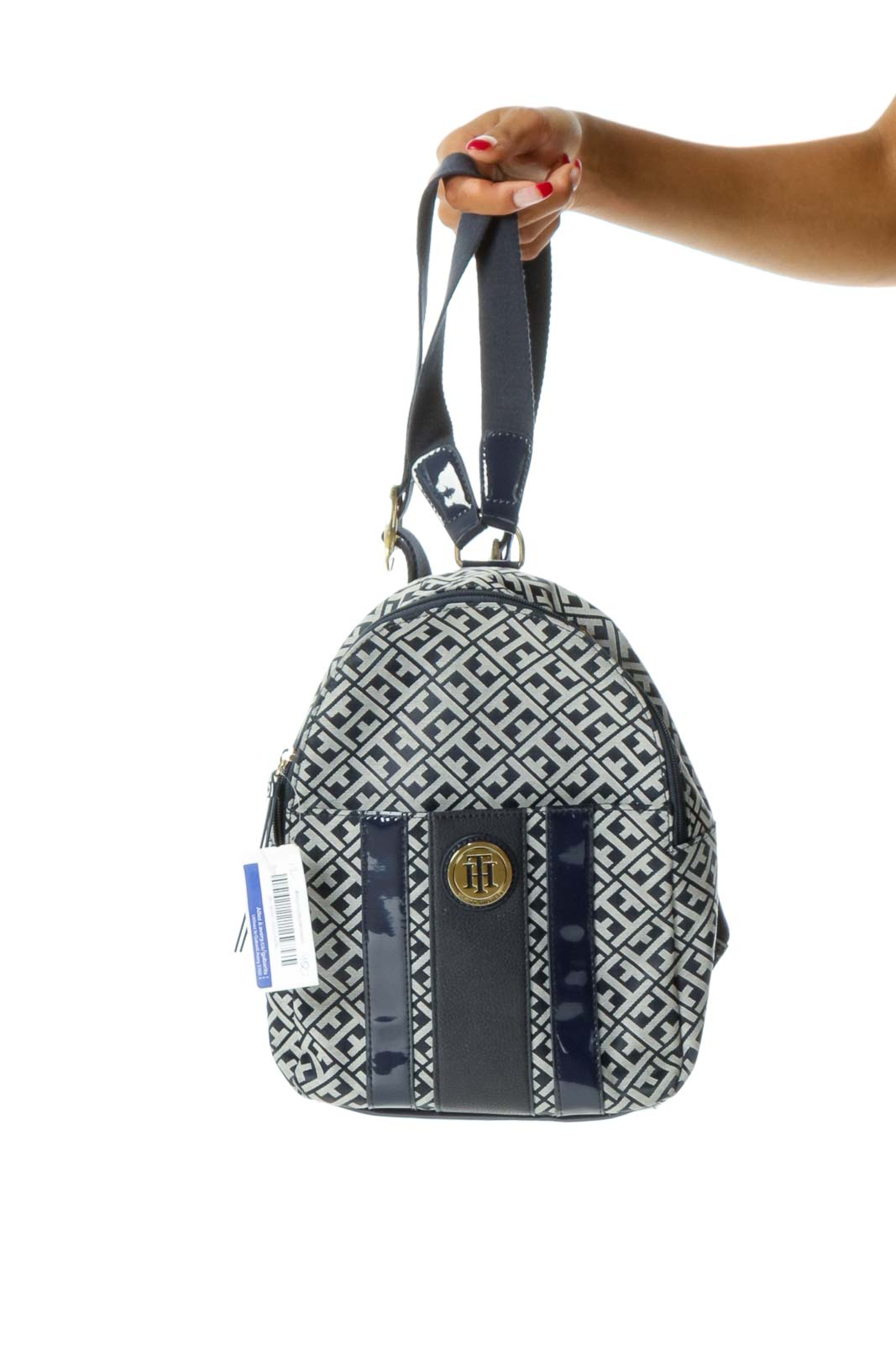 Navy Blue White Monogrammed Knit Zippered Medium Size Backpack