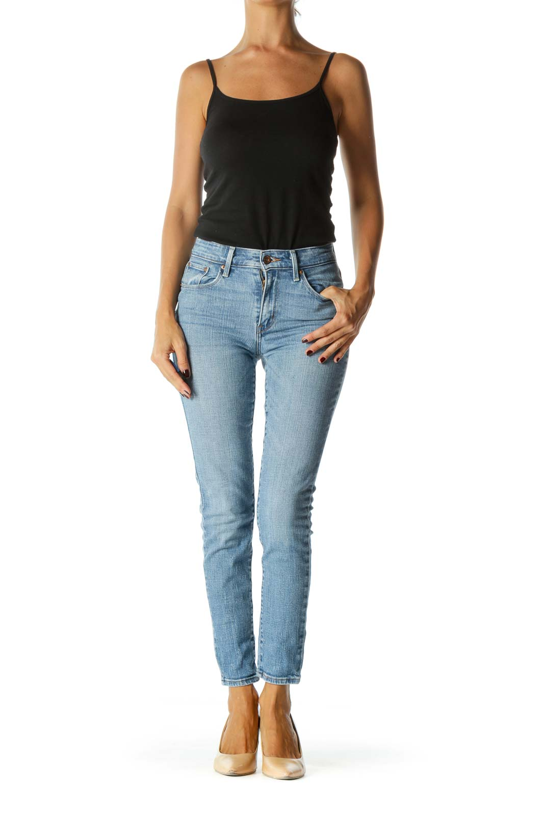 Blue Light- Wash High-Waisted Jeans
