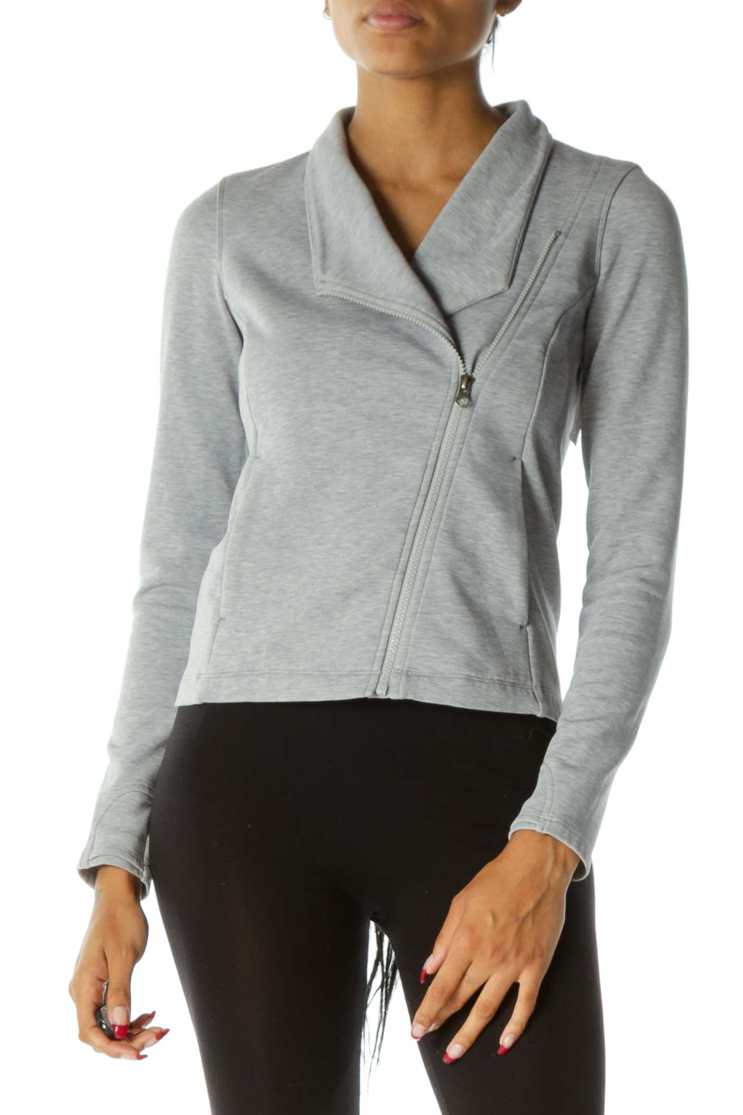 Gray Pocketed Mottled Print Zippered Sweat Active Jacket