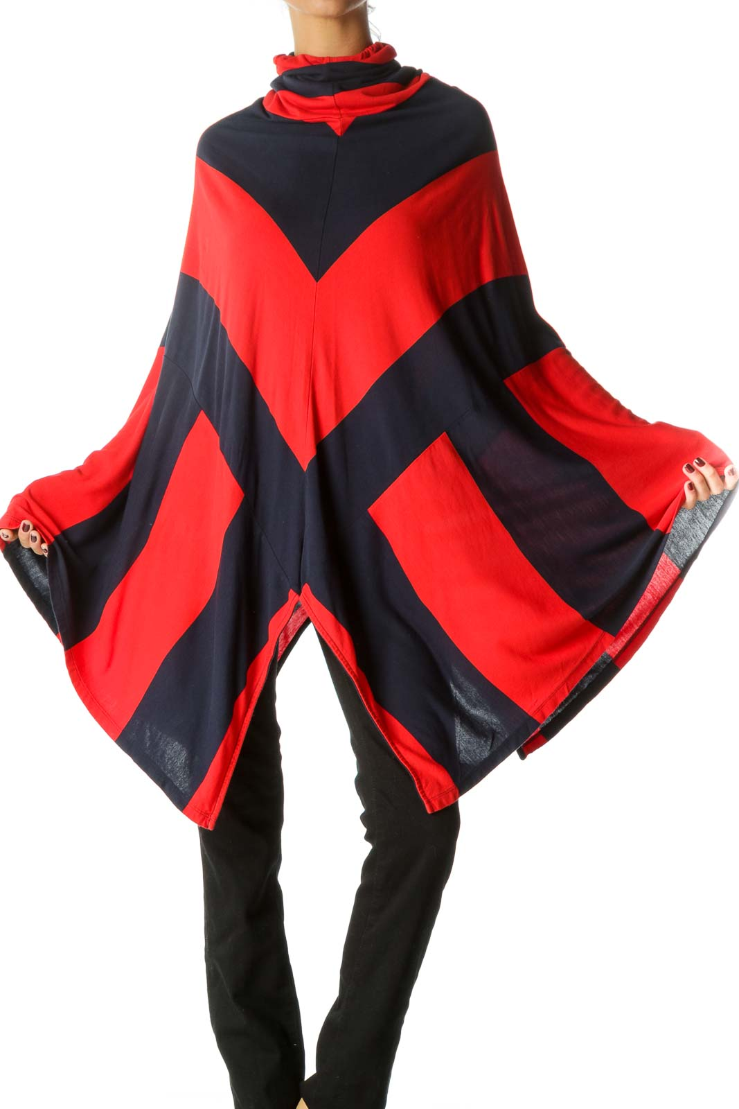 Blue Red Striped Asymmetrical Stretch Poncho
