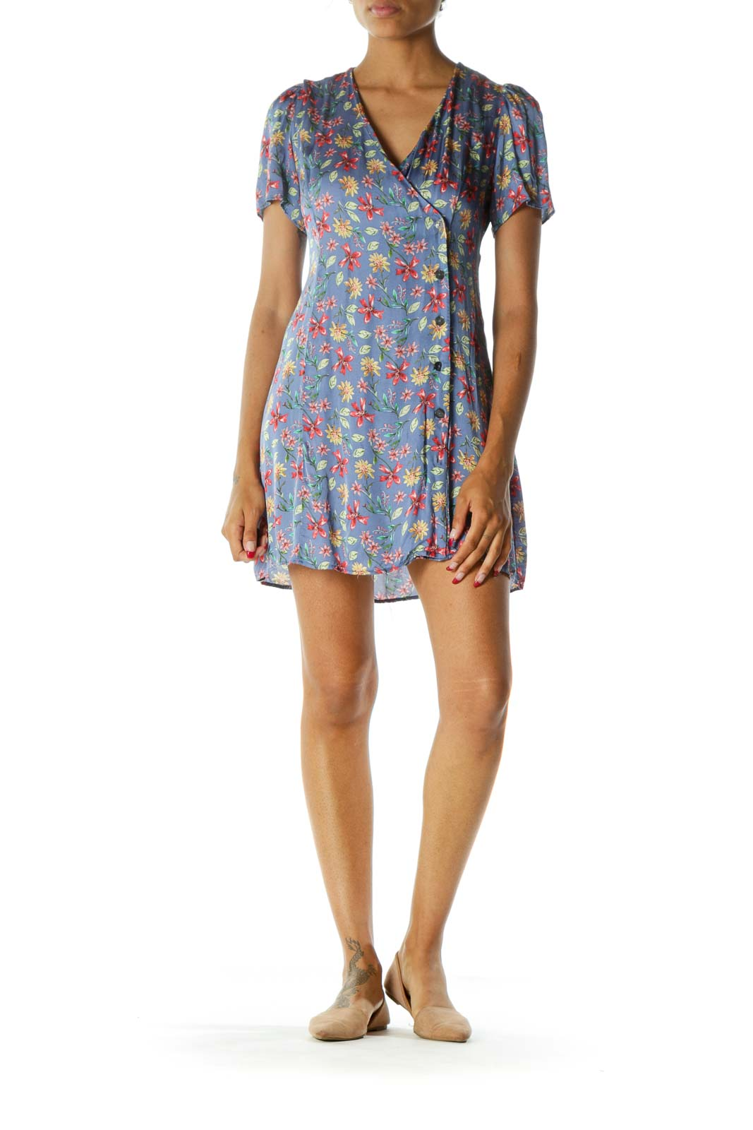 Blue Red Yellow Floral Print Deep V-Neck Buttoned Short Sleeve Day Dress