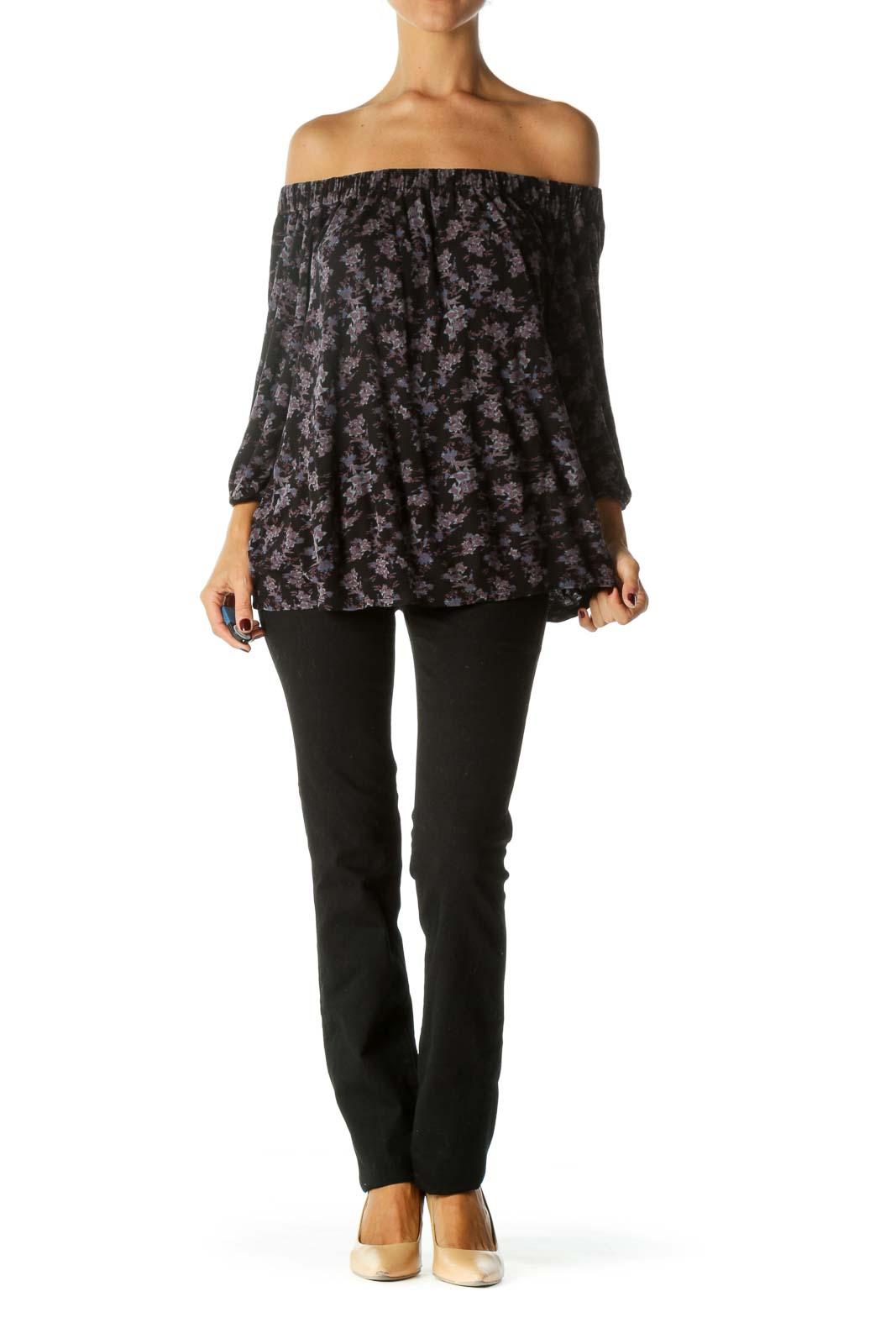 Black Purple Cold Shoulder Floral Print 3/4 Sleeve Knit Top