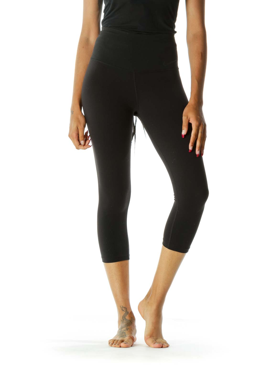 Black High-Waisted Cropped Leggings