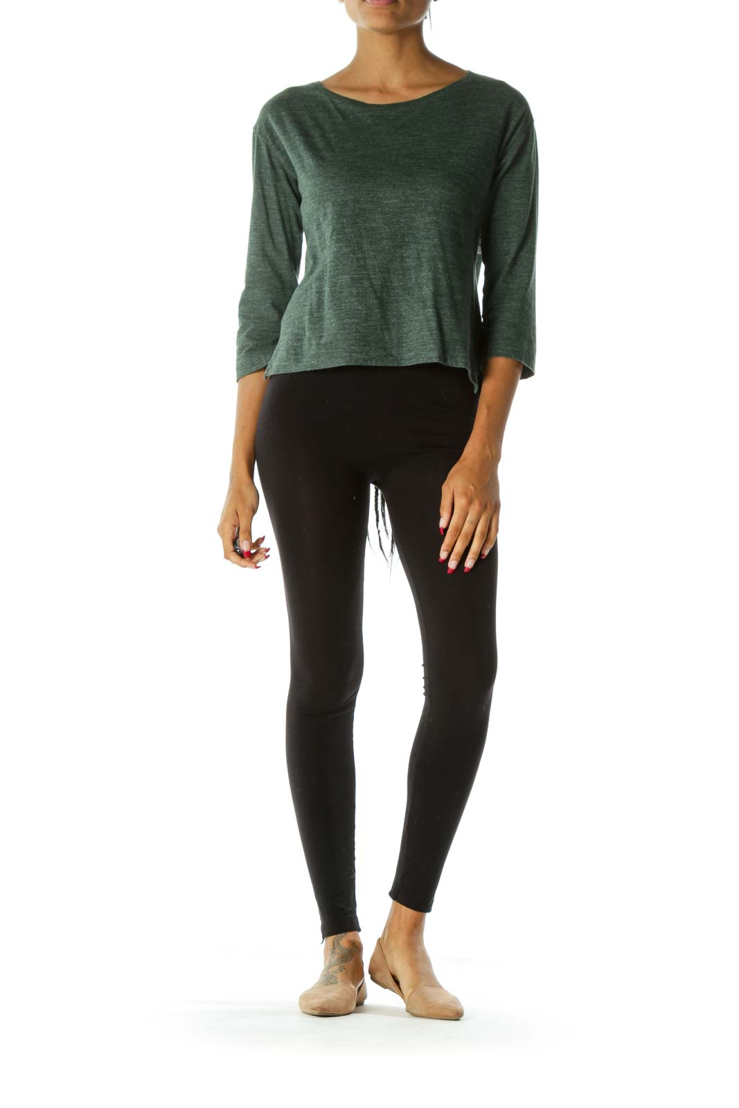 Dark Green Boat Neck Mottled Long Sleeve Top