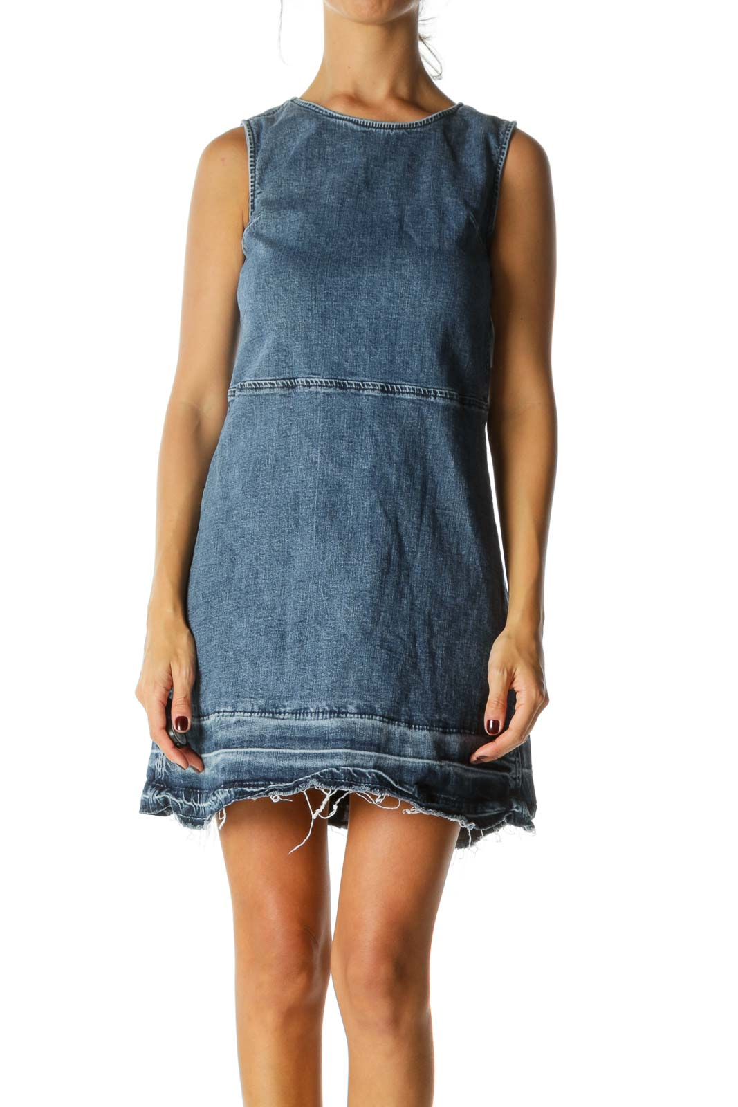 Blue Medium-Wash Round Neck Raw Hem Denim Dress