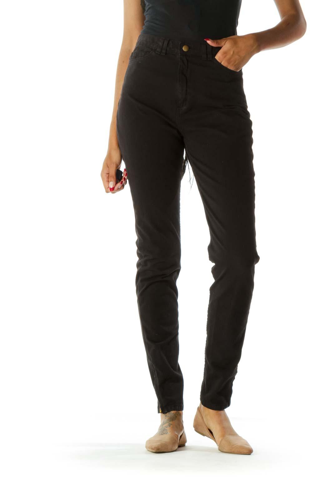 Black High-Waisted Denim Jeans