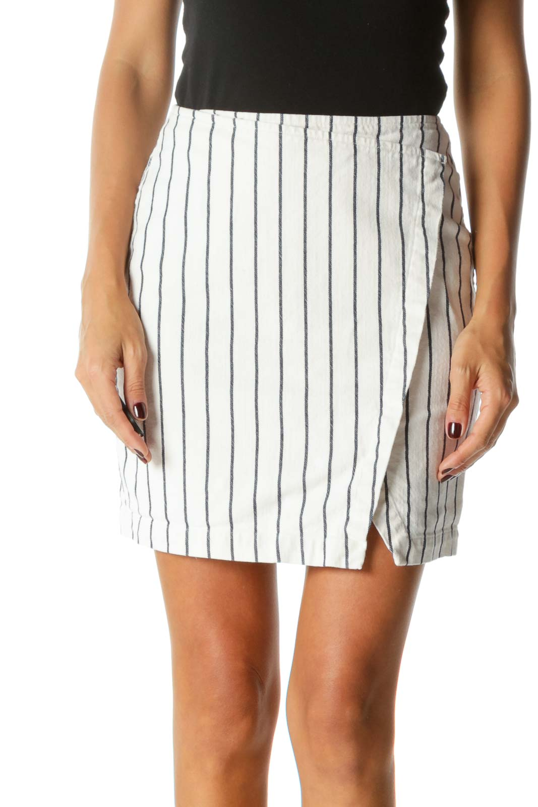 White Striped Mini Skirt