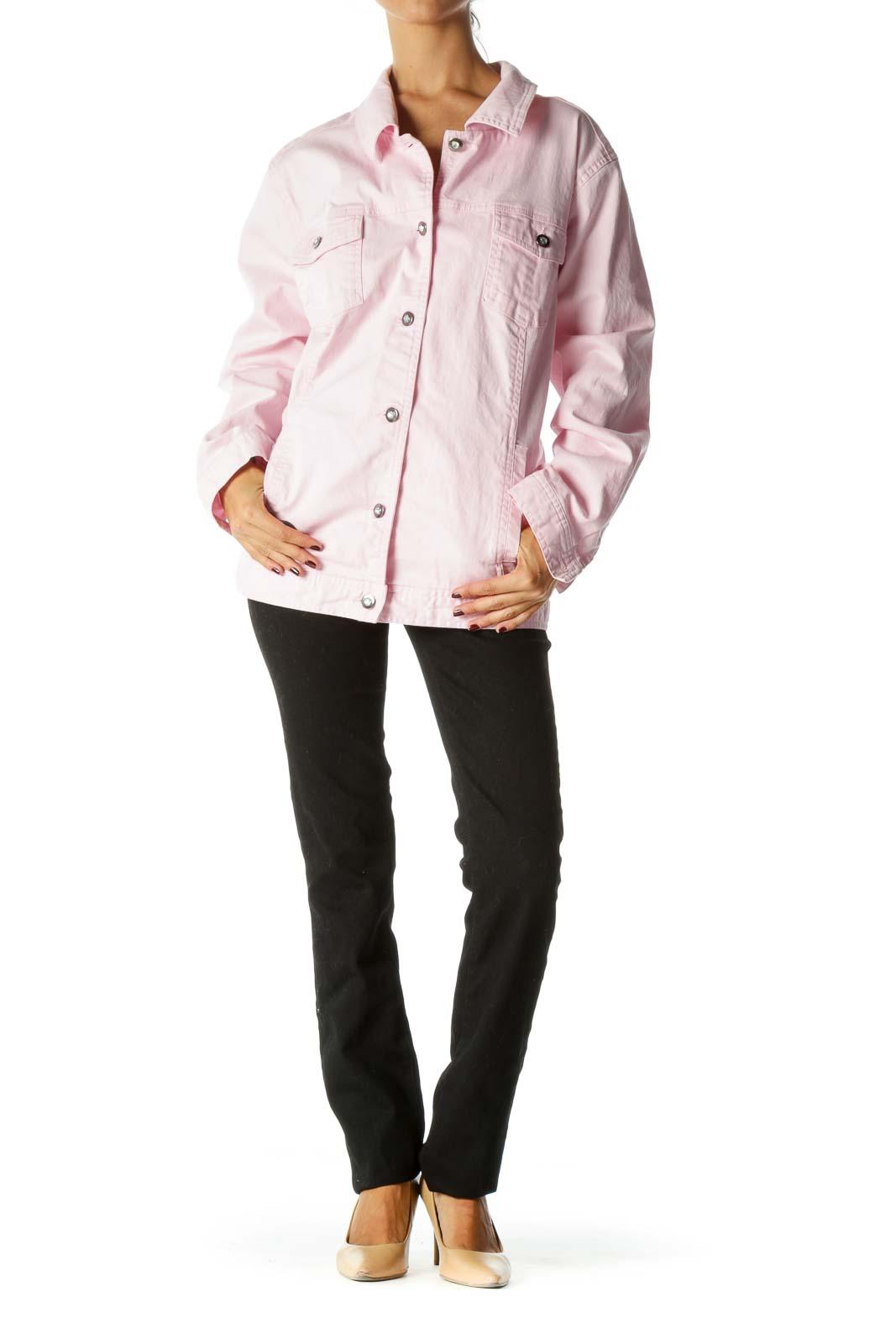 Pink Pocketed Long Sleeve Embellished Buttons Denim Jacket