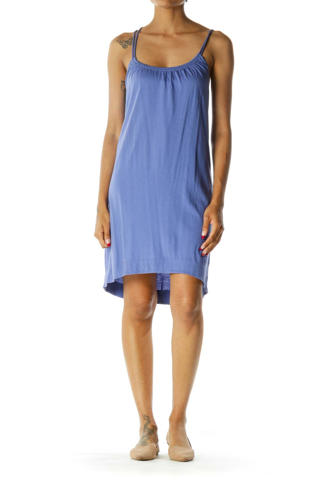 Blue Elastic Neckline Spaghetti Strap Soft Lightweight Dress