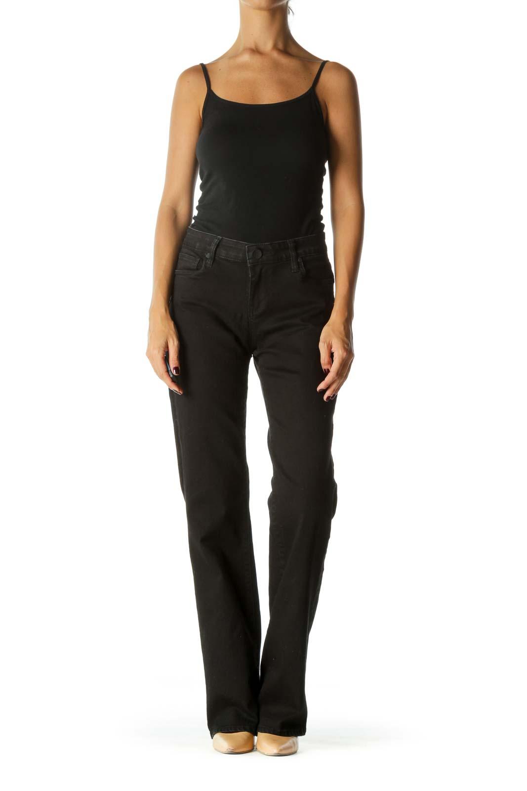 Black Low-Rise Boot-cut Denim Jeans
