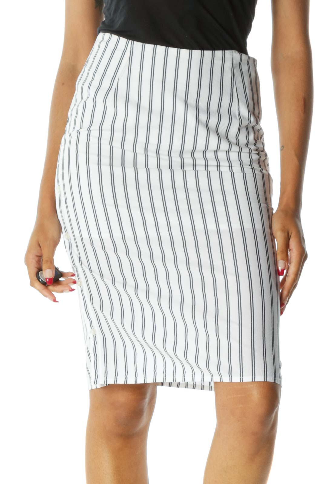White Black Striped 100% Cotton Side-Buttons Midi Skirt