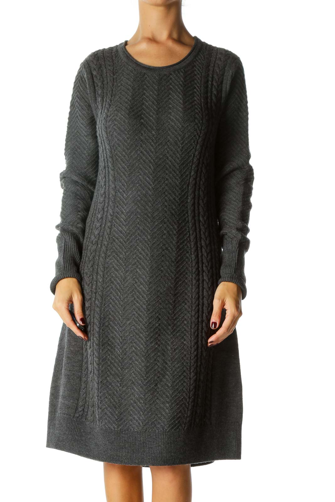 Gray Round Neck Merino Wool Long Sleeve Knit Dress