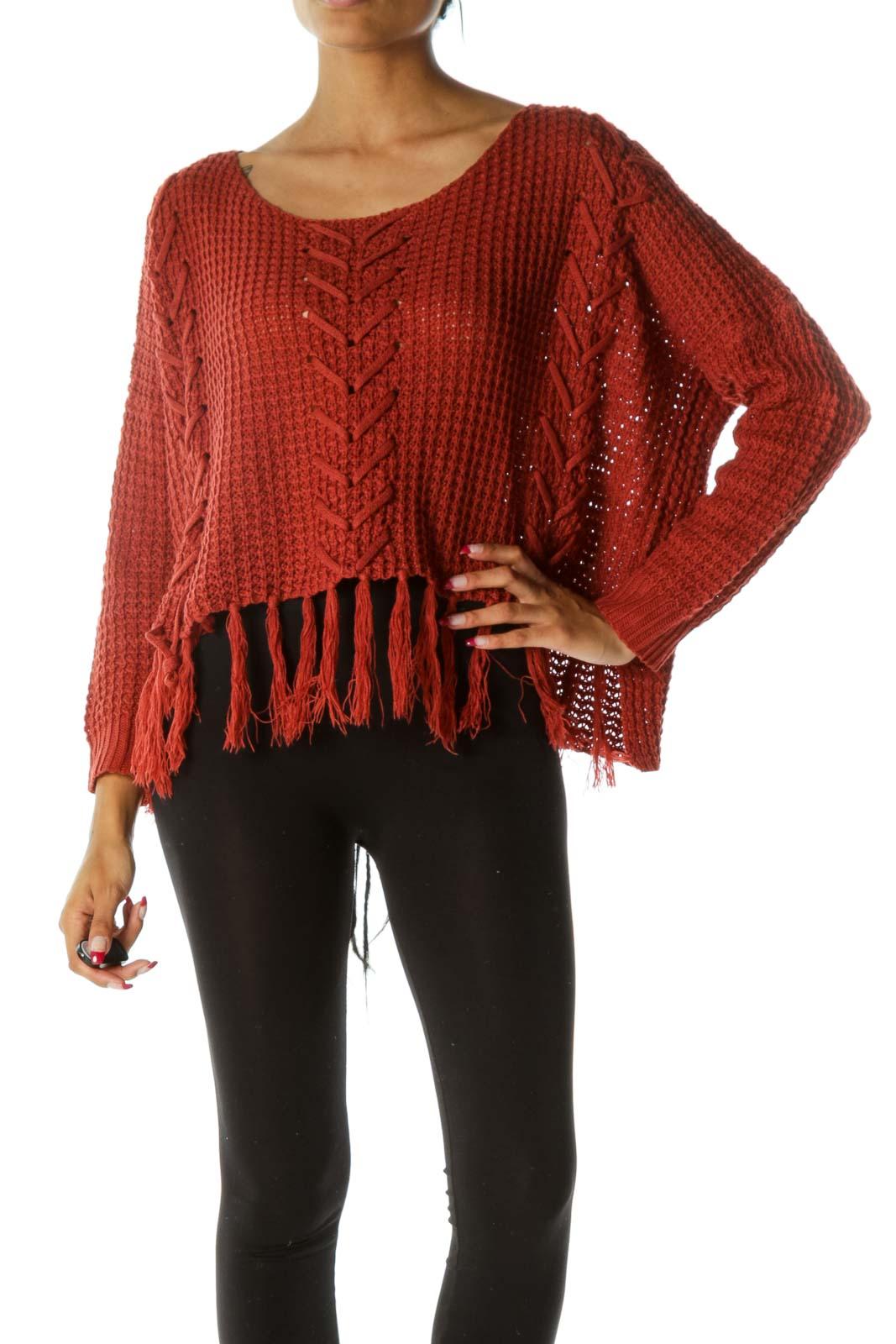 Burnt Orange Long Sleeve Round Neck Knit Top