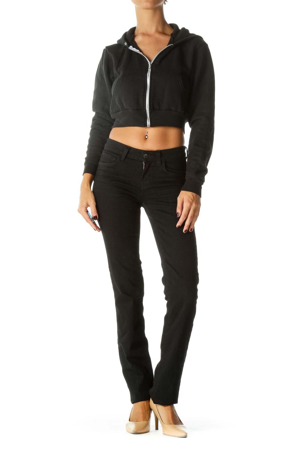 Black Hooded Zippered Crop Sweat Jacket