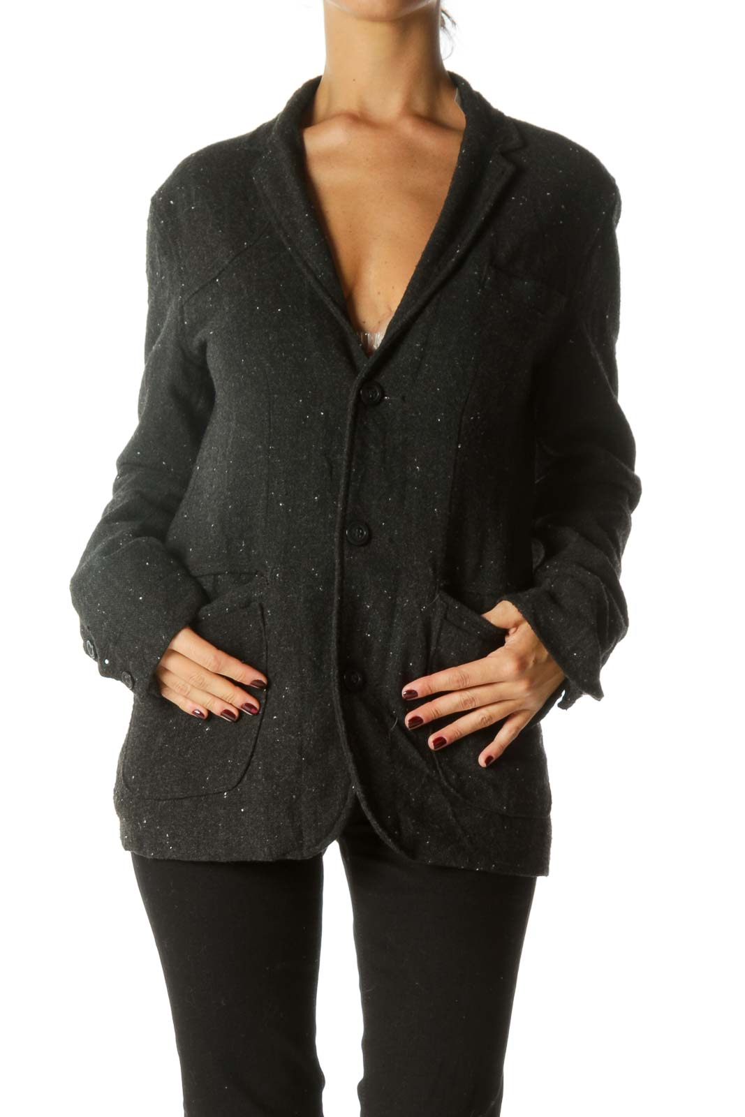 Dark Gray White Knit Collared Pocketed Lined Jacket