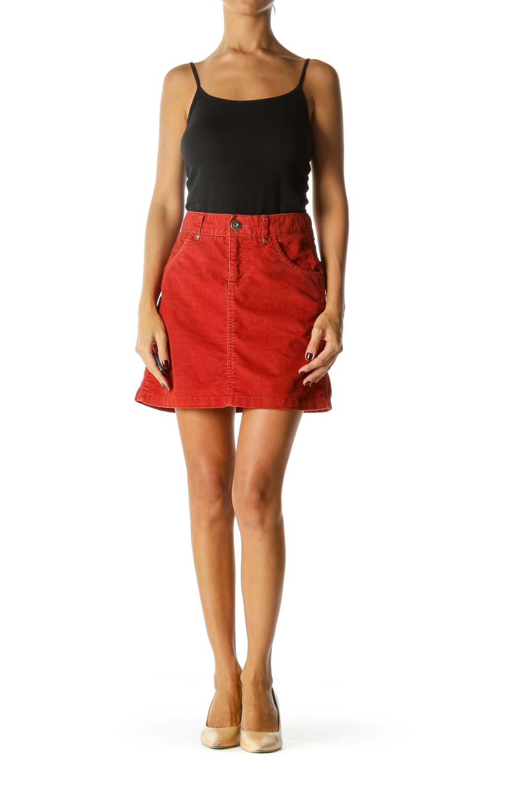 Orange Pocket Stitching Detail Zipper Corduroy Mini Skirt