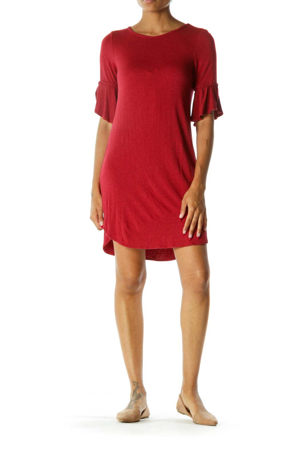 Red Round Neck 3/4 Sleeve Soft Jersey Knit Dress