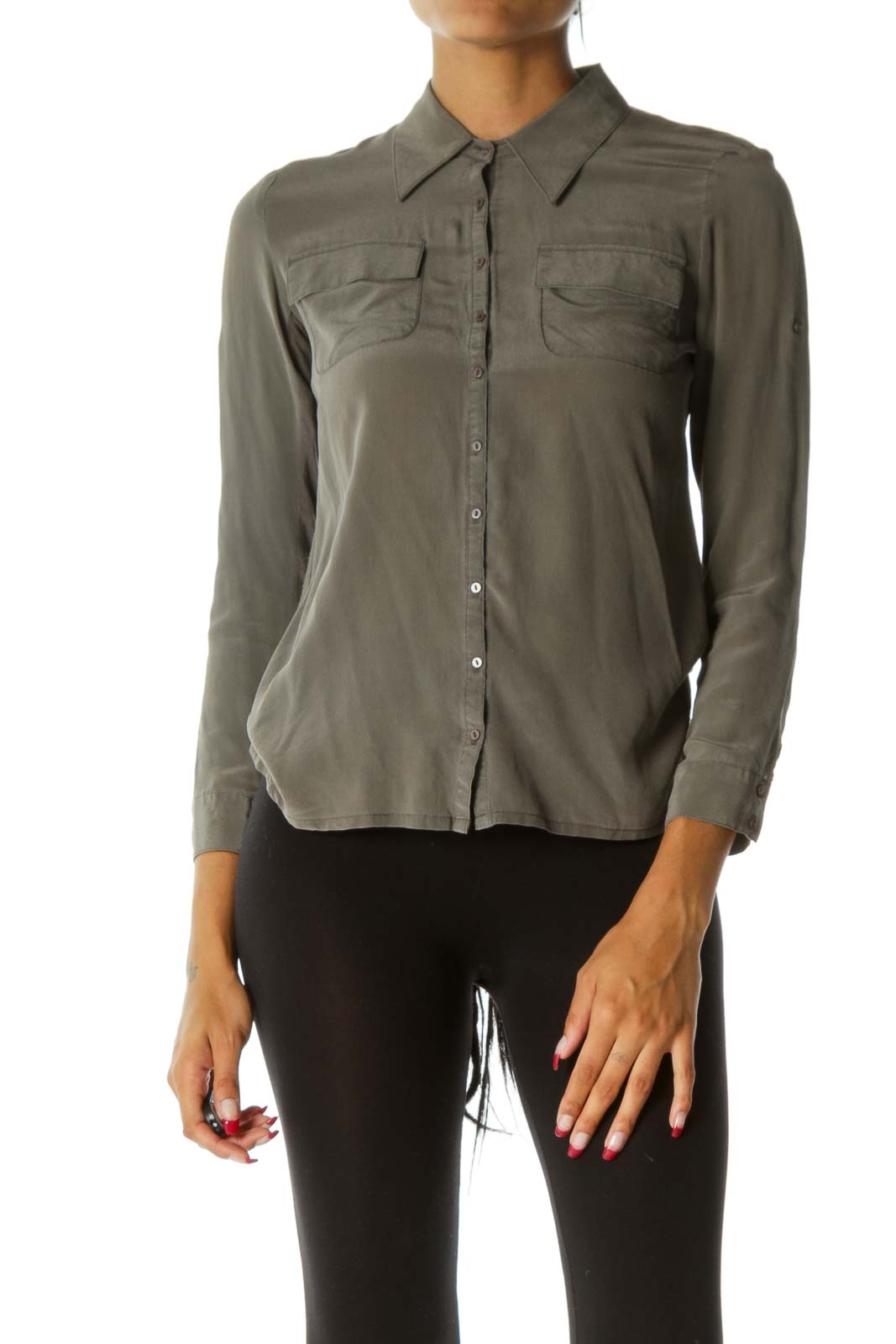 Gray Bamboo & Silk Button-Down Blouse