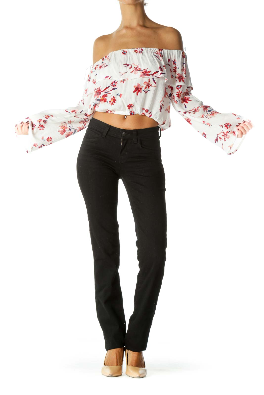 White Red Blue Floral Print Off-Shoulder Long Sleeve Top