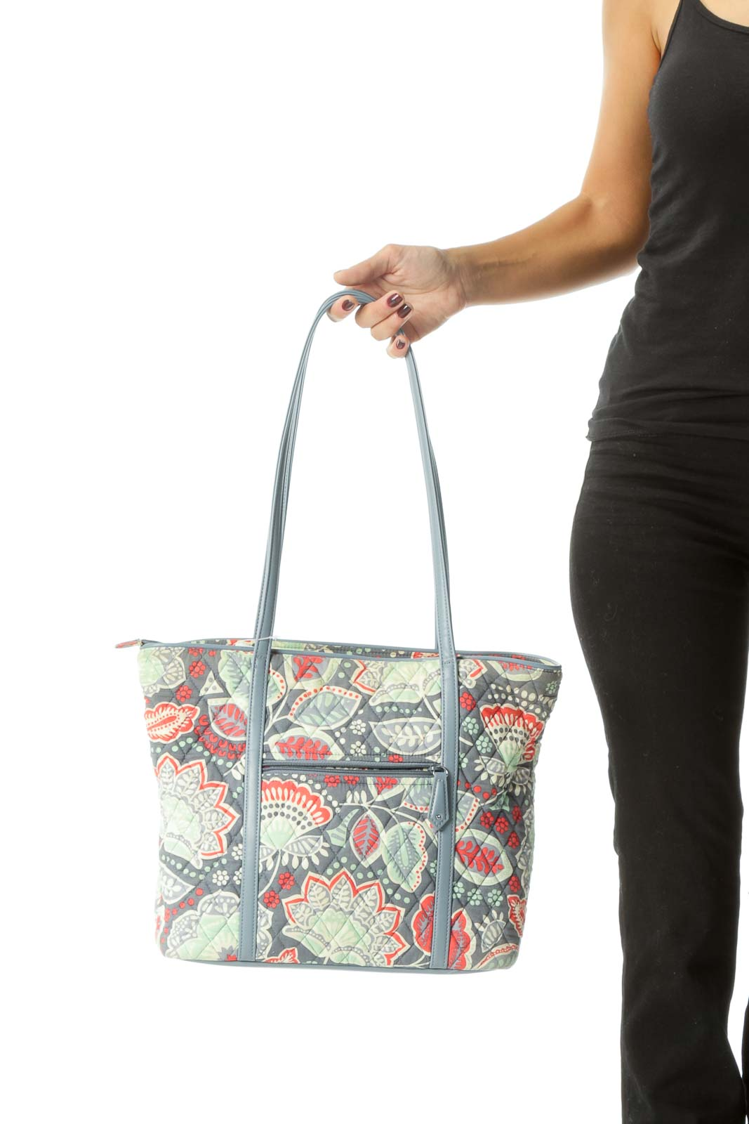 Gray Blue Strawberry Red Print Quilted Zippered Tote Bag