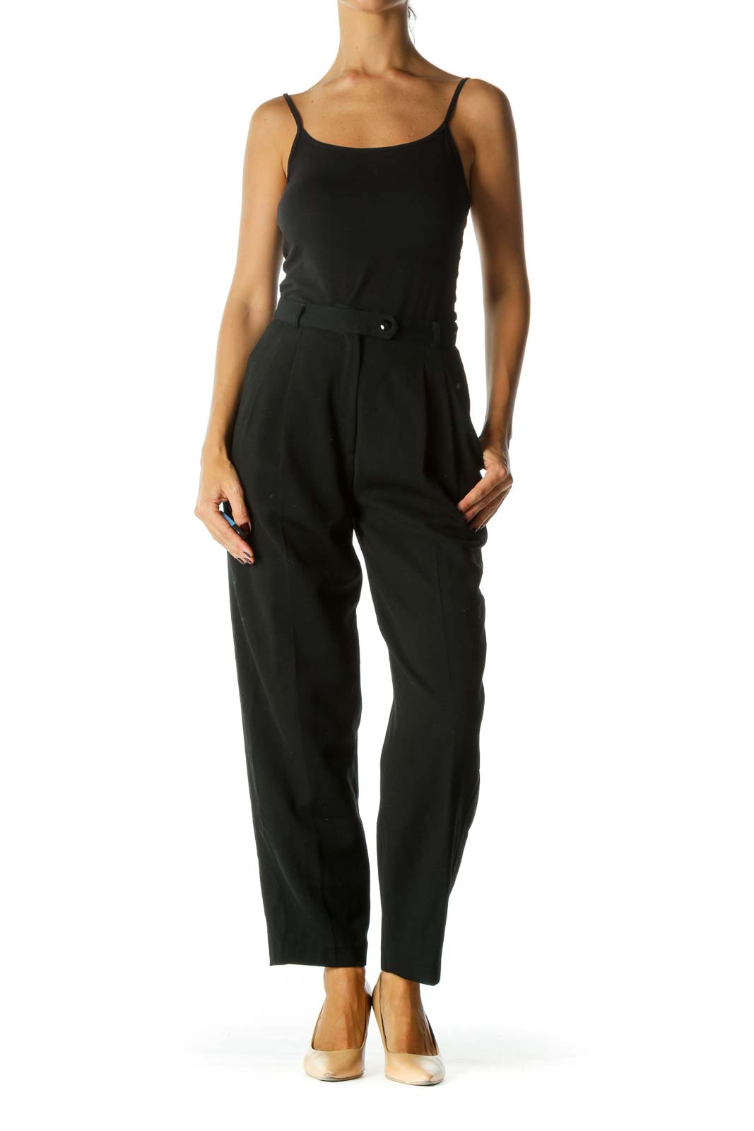 Black 100% Wool Designer High-Waisted Pants