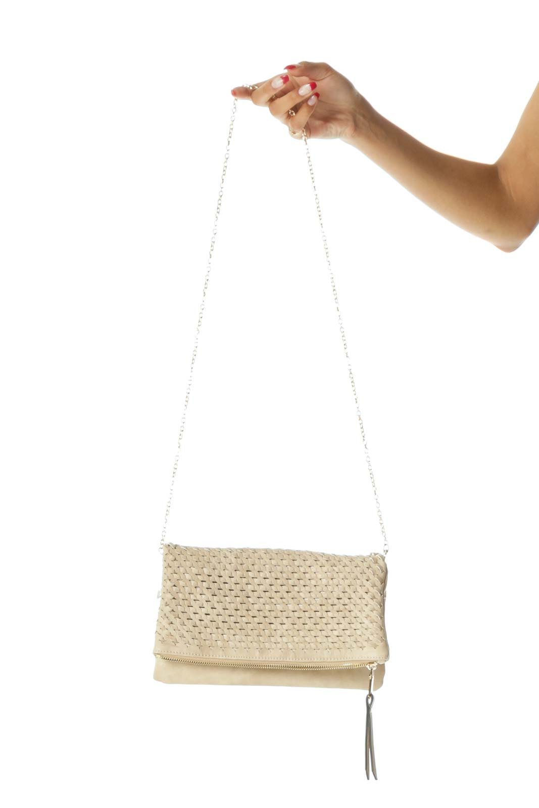Beige Weaving Flap Detail Zippered Magnetic Closures Clutch
