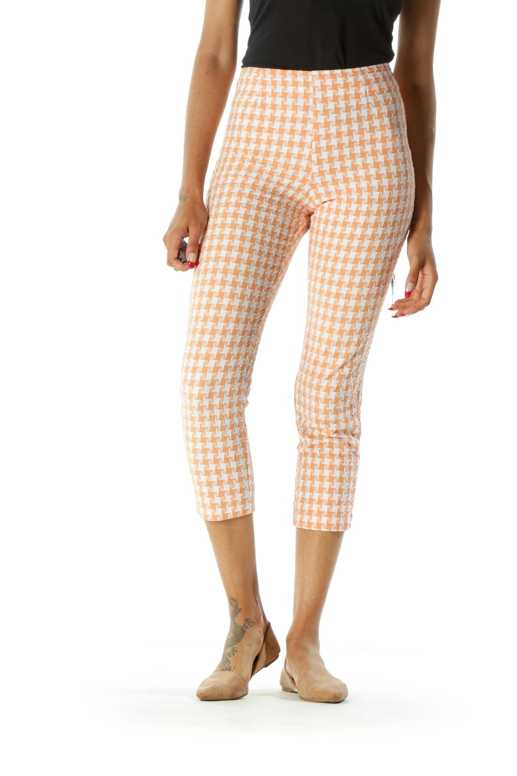 Orange White Houndstooth Knit Pattern Pants