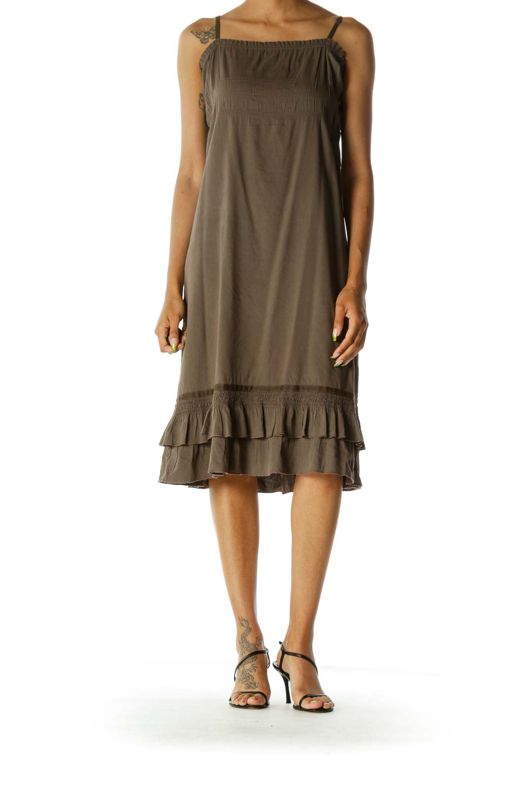 Brown Square Neck Spaghetti Strap Ruffled Detail Day Dress