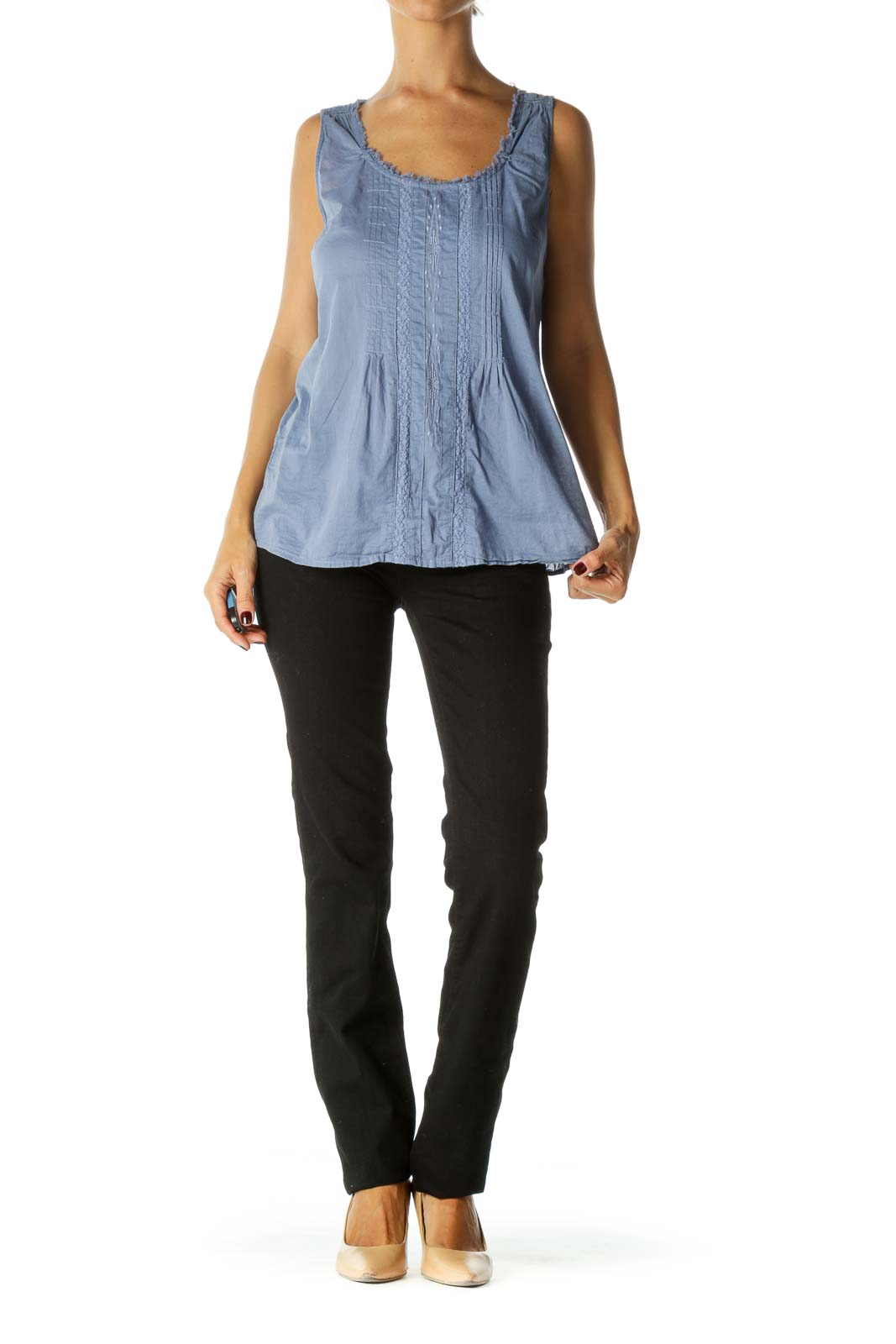 Blue Pleated Embroidered Cotton Tank Top