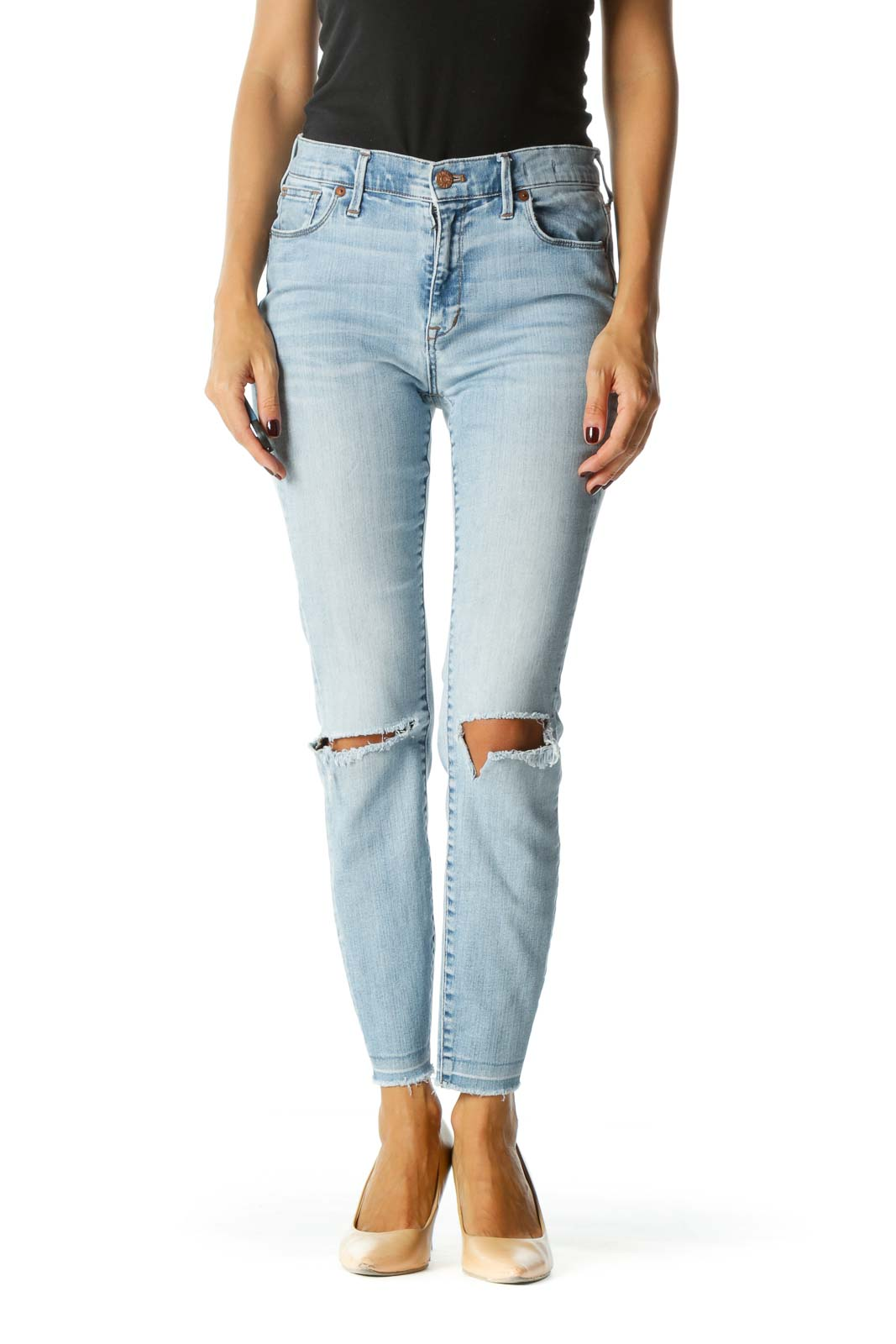 Light Blue Distressed High-Waisted Skinny Jeans