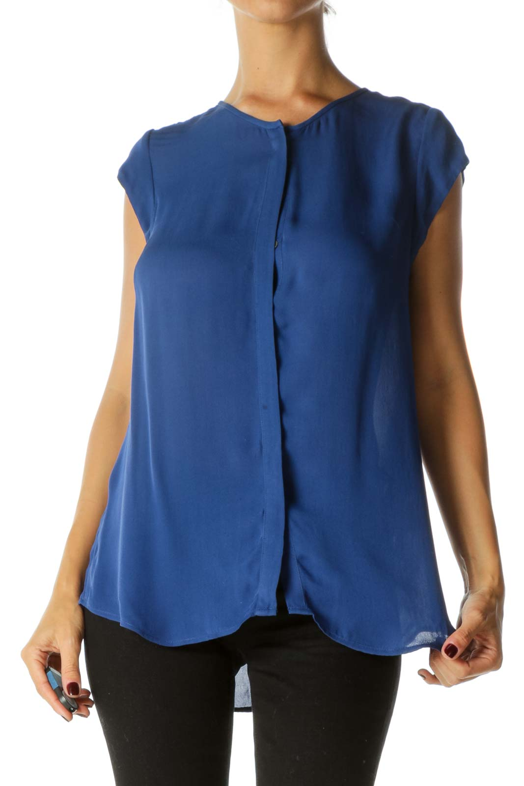 Blue Round Neck 100% Silk Cap Sleeves Buttoned Top