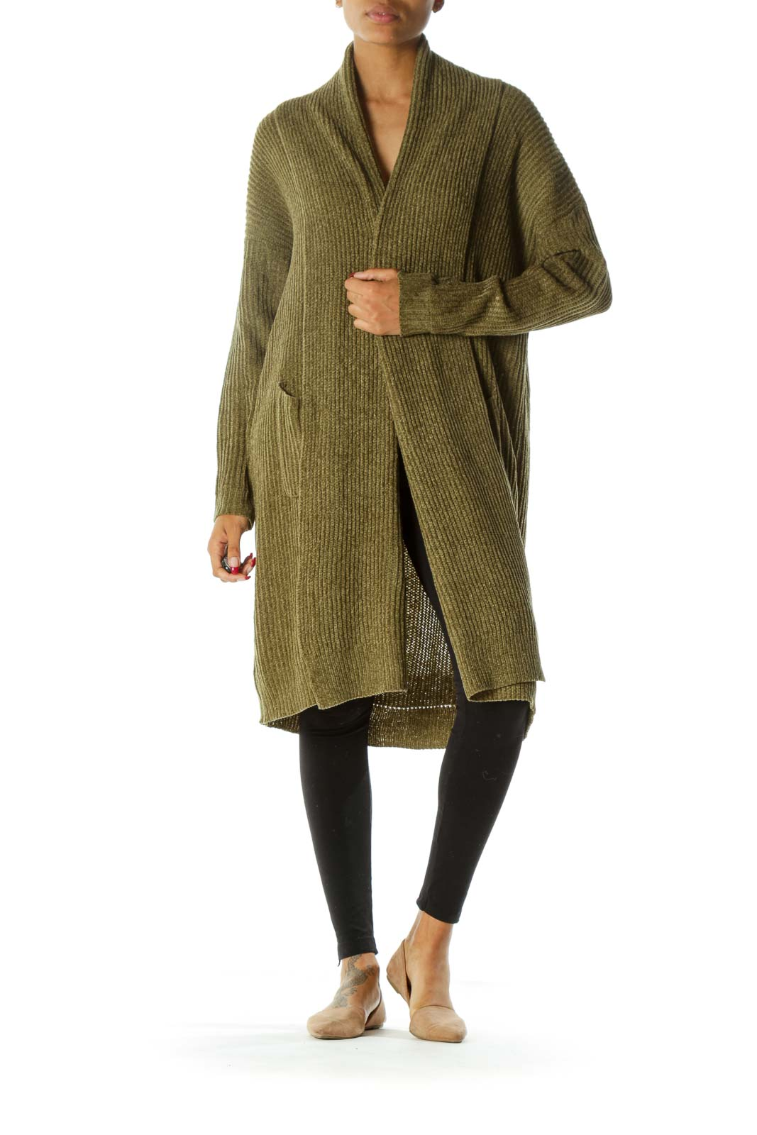 Green Ribbed Knit Open Pocketed Long Sleeve Chunky Cardigan
