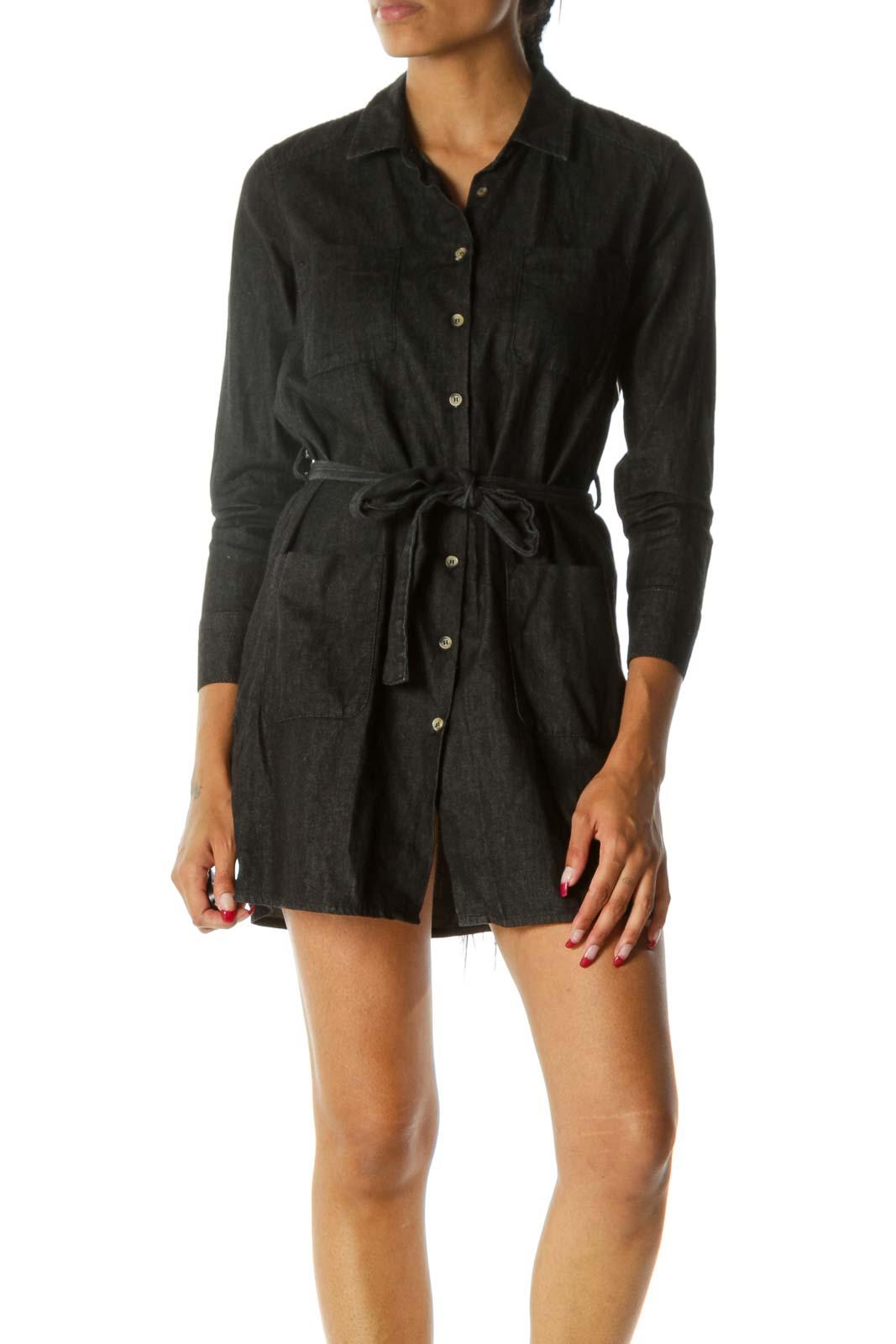 Black 100% Cotton Buttoned Belted Long Sleeve Light Denim Dress