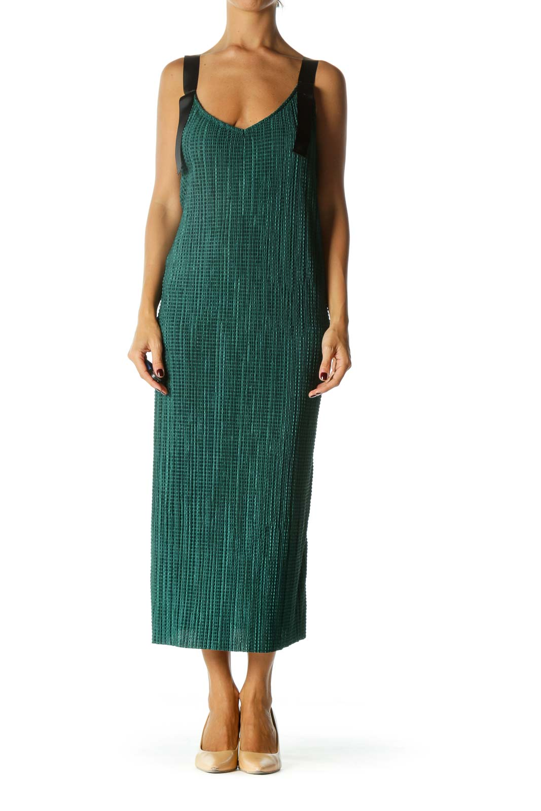 Emerald Green Black Knot Straps V-Neck Waffle Texture Stretch Dress